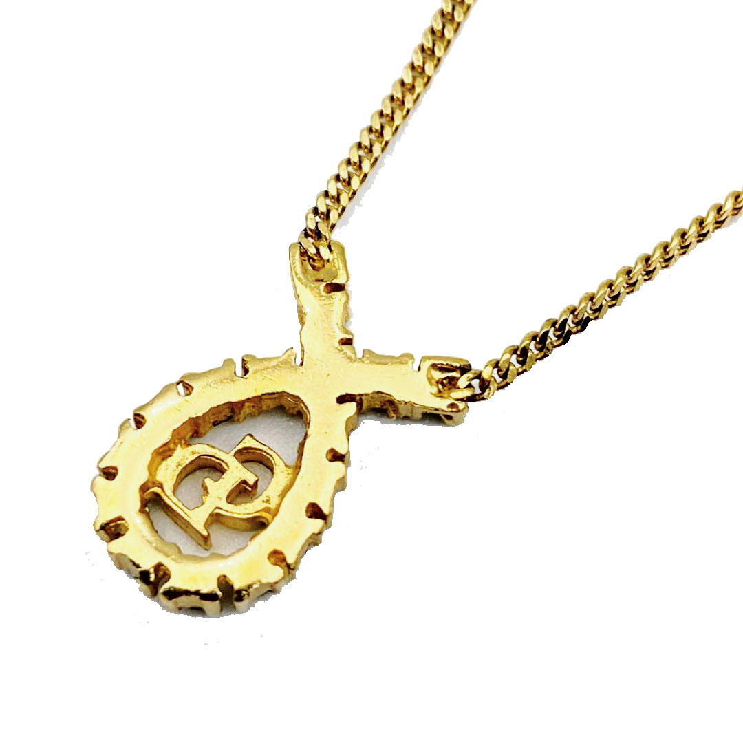 Christian Dior クリスチャン・ディオール ヴィンテージ ネックレス CDロゴ リボン ラインストーン ゴールド