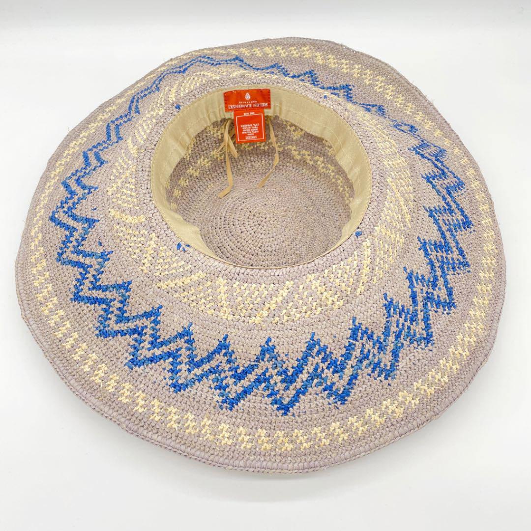 HELEN KAMINSKI ヘレンカミンスキー ラフィアハット 麦わら帽子 ブルー グレー