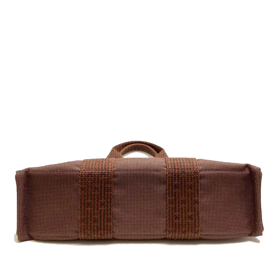 HERMES エルメス エールラインPM トートバッグ ハンドバッグ キャンバス ショコラ(ブラウン系)