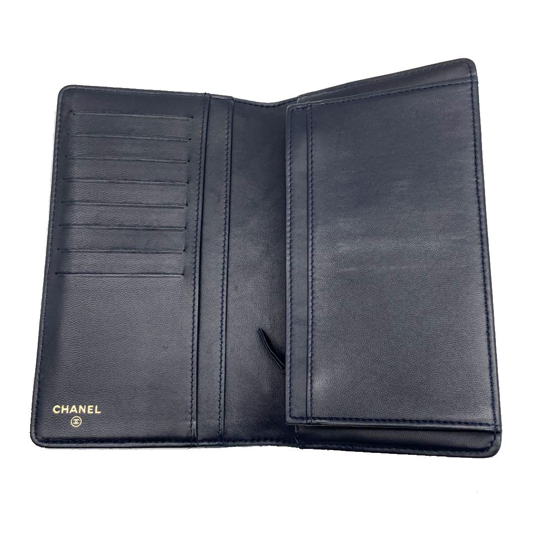 CHANEL シャネル ワイルドステッチ 二つ折り長財布 レザー ネイビー 20番台