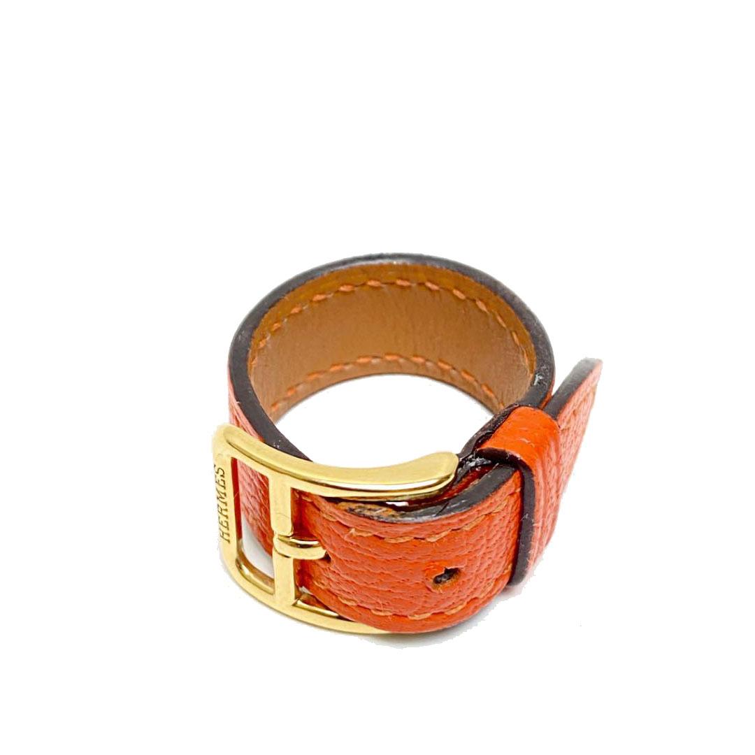 HERMES エルメス スカーフリング レザー オレンジ ゴールド金具 □I刻印(2005年頃製造)