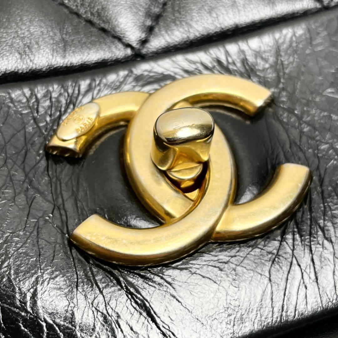CHANEL シャネル マトラッセ チェーンショルダーバッグ ラムスキン ターンロック カンボン ココマーク ブラック ゴールド金具 18番台