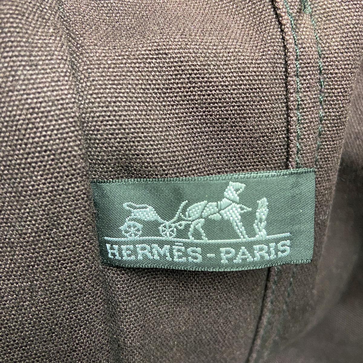 HERMES エルメス フールトゥMM  トートバッグ バイカラー ワインレッド×ブラック キャンバス