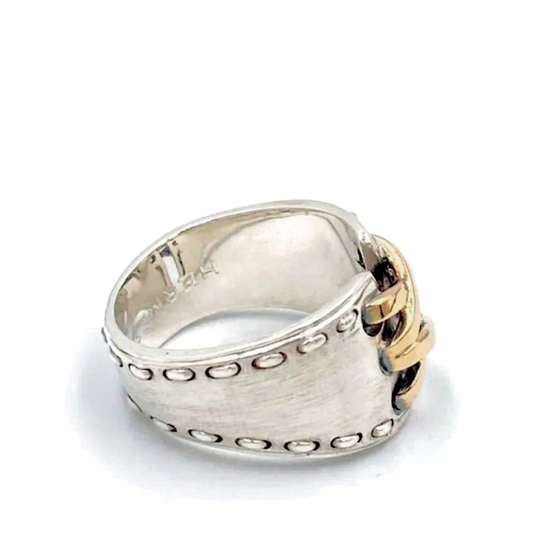 HERMES エルメス リング 指輪 メキシコ ダブル 750(K18) SV925 シルバー ゴールド 約11号