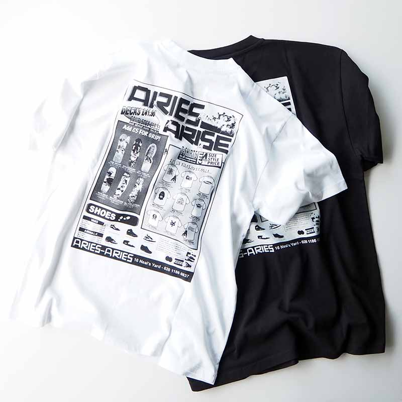 Skate SS tee プリントTシャツ ARIES Temple Logo on the chest and SKATE ink print on the back
