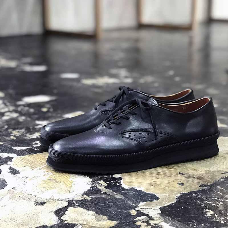New Flat Horse Leather Black レザーシューズ ホースレザー ブラック