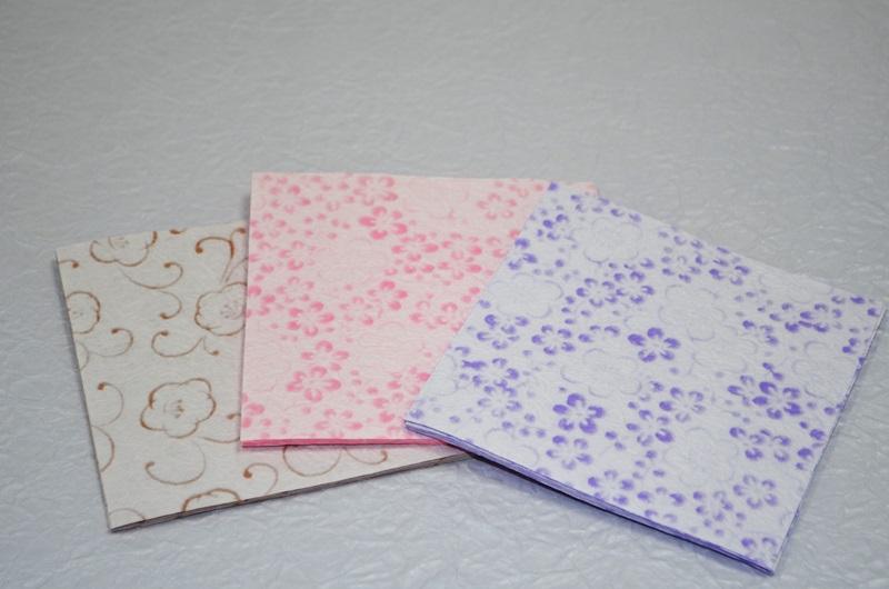 ミニ和紙 越前ろまん梅 (便箋/便せん/メモ紙/封筒/小物/折り紙)