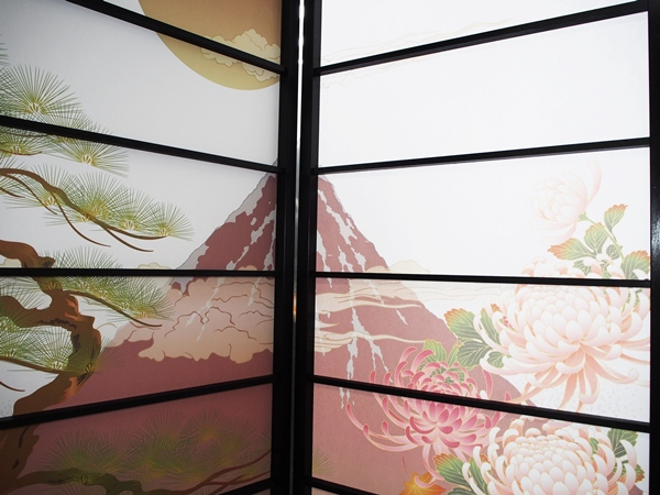オシャレなデザイン衝立 福寿 黒ヨコ桟 (屏風/衝立/間仕切り/パーテーション/おしゃれ/和柄/富士山/鶴/亀)