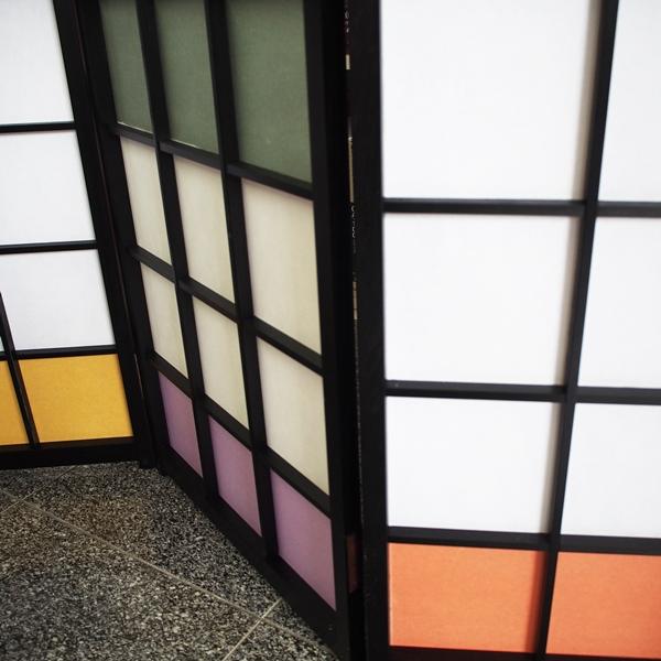 衝立 カラー プラスチック障子紙使用 カラー衝立 木製衝立 間仕切り パーテーション 4連 おしゃれ モダン つい立て ついたて 屏風
