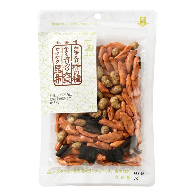 秘伝のたれ柿の種・辛味噌味カリカリ大豆・サクサク昆布65g 10袋セット