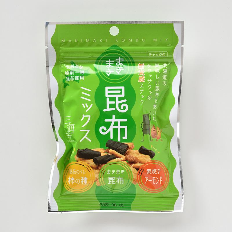 まきまき昆布・柿の種・アーモンドミックス28g 10袋セット