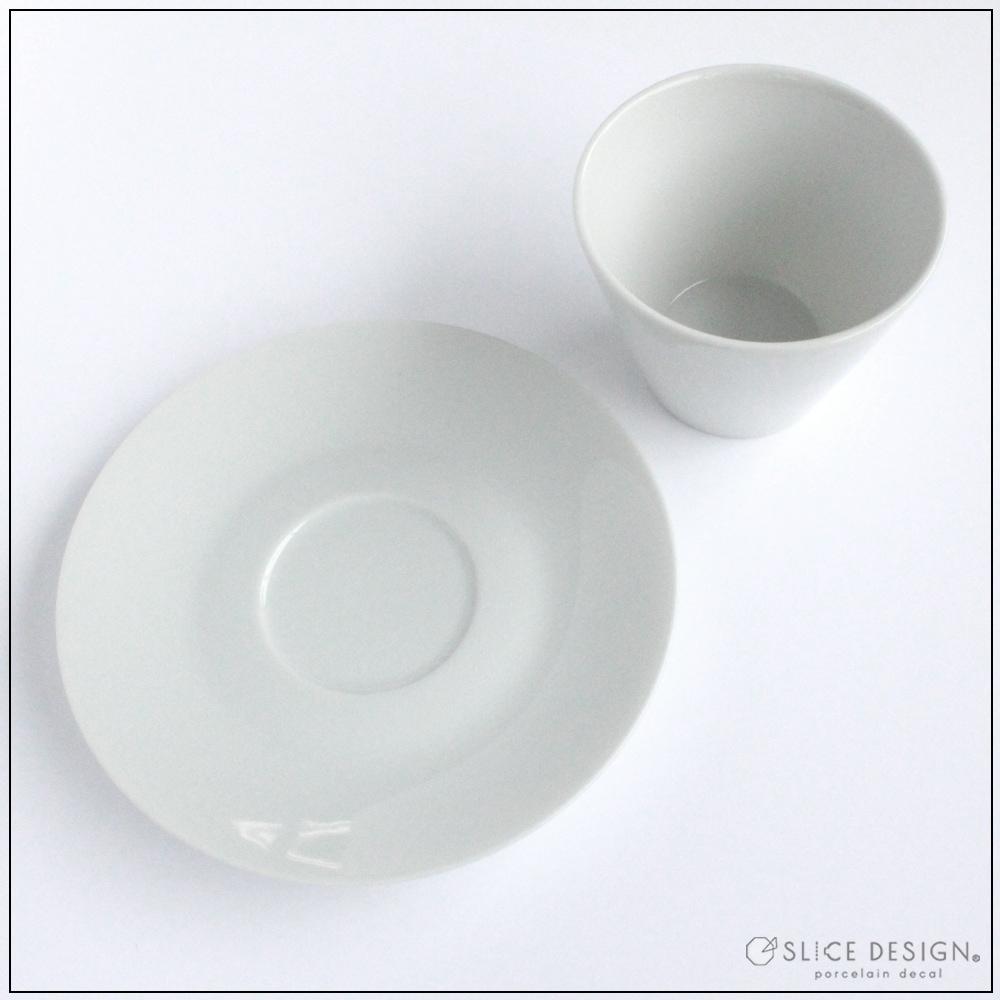 ハンドルフリーカップ&ソーサー 中 [宅配便配送] ■白磁・ガラス