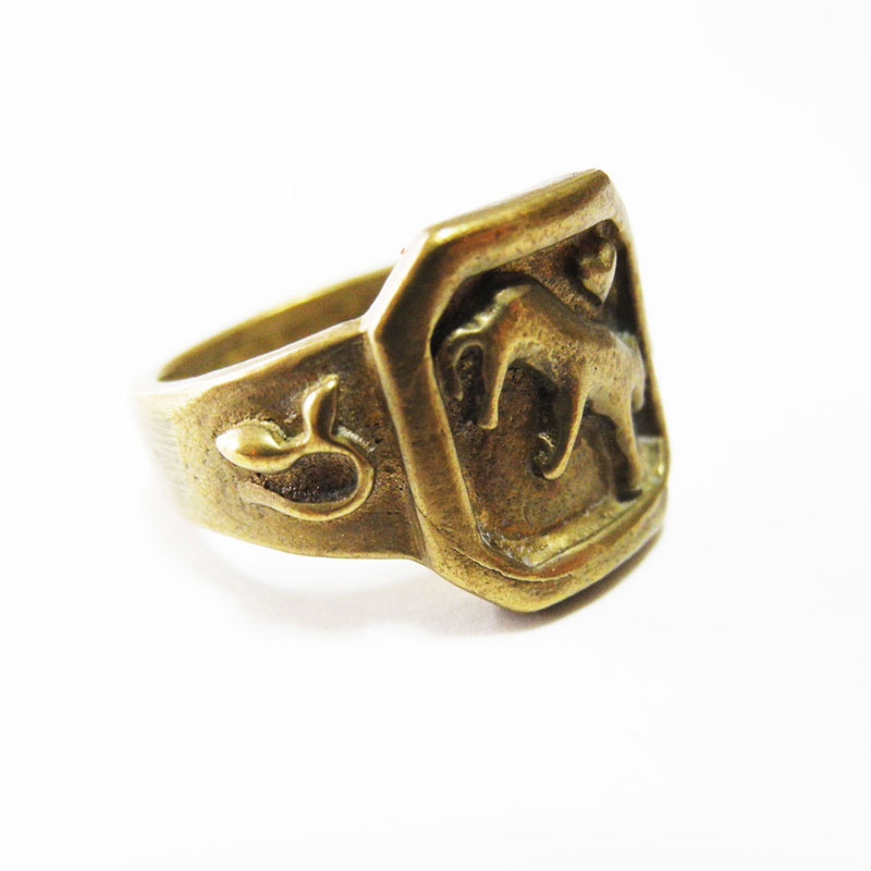 Brass Tiger Heart Ring