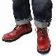 SWL[8593KS]プルアップレザーMIDブーツ ビブラムソール#148 RED