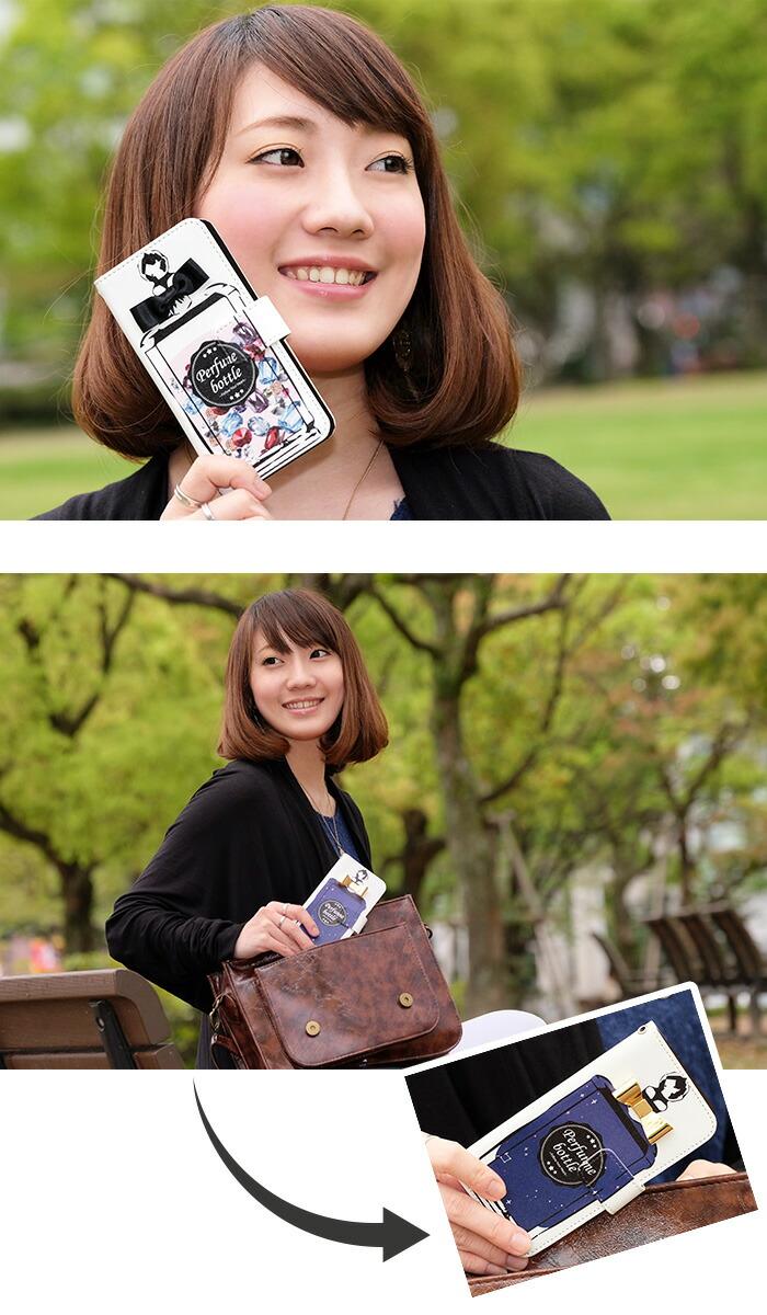 iPhone8 ケース iPhoneXS スマホケース 手帳型 全機種対応 (iPhone11 Pro アイフォン8 Xperia5 oppo reno a xperia8 AQUOS R3 r l2 Android One S3 pixel3a) デザイン ラブ パヒュームボトル 携帯ケース 手帳型 エクスペリア