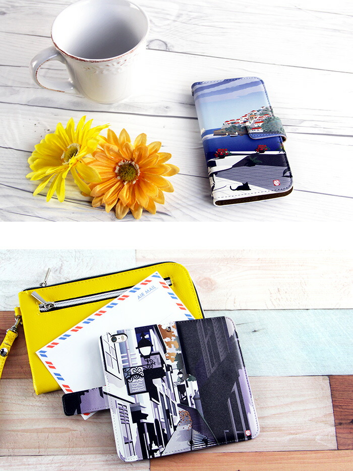 スマホケース 手帳型 全機種対応 iPhone8 ケース AQUOS R2 iPhoneSE iPhone7 plus iPhone11 Pro iPhoneXR Xperia android one S3 Ymobile デザイン adbox ねこ旅 巻田喜昭 ネコ 動物 アニマル 猫 コラボ 携帯ケース カバー ベルトなし かわいい おしゃれ