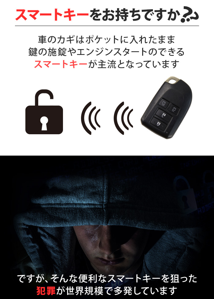 リレーアタック対策 リレーアタック防止キーケース 1枚 電波遮断 ポーチ スマートキー 盗難対策 スキミング防止 防犯 セキュリティ ブラック