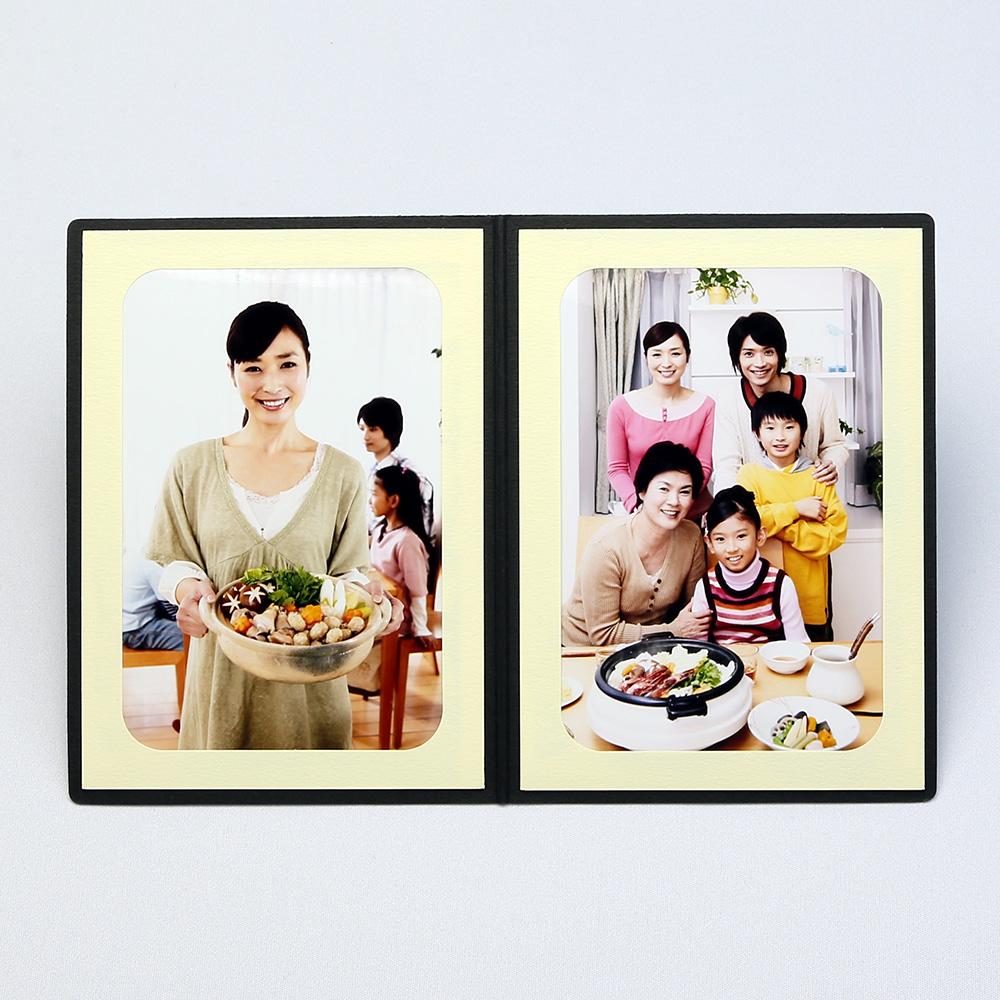 ポケット台紙 Photograph/カメラ L2面(タテ) ブラック メッセージカード付