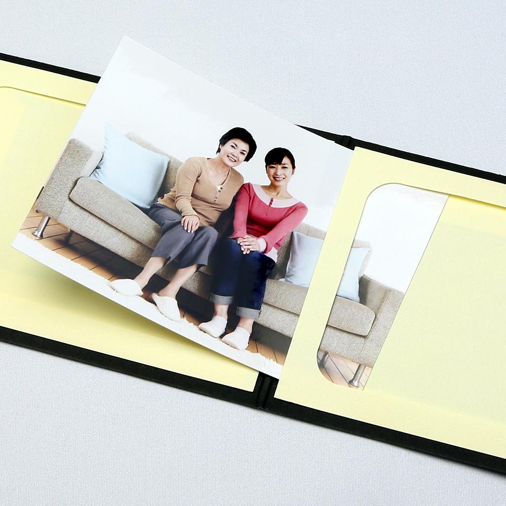 ポケット台紙 Photograph/カメラ L2面(ヨコ) ブラック メッセージカード付