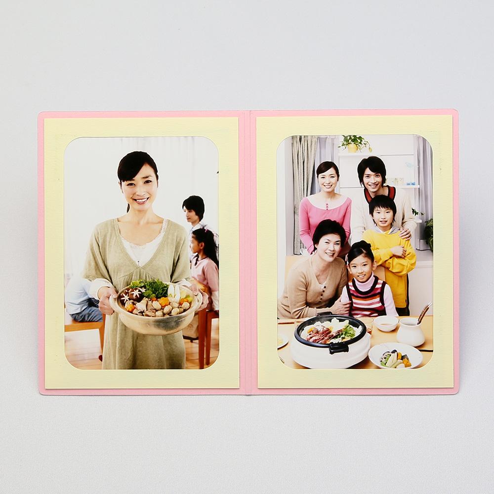 ポケット台紙 Photograph/カメラ L2面(タテ) ピンク メッセージカード付