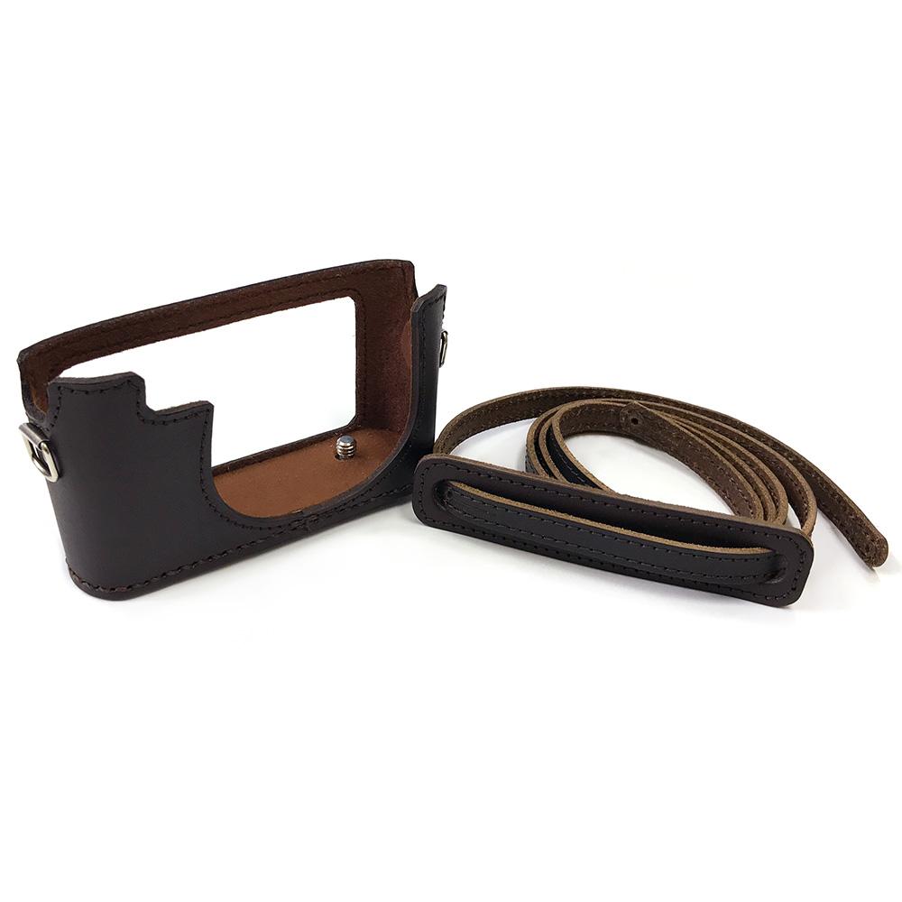 カメラ.ヒラノ Leica ライカ D-LUX4用 ハンドメイド本革カメラケース(ストラップ付属) ブラウン