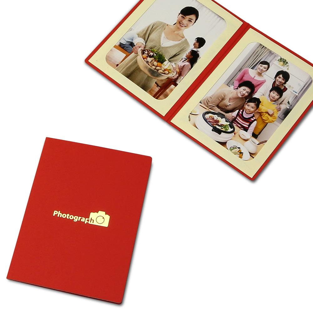 ポケット台紙 Photograph/カメラ L2面(タテ) レッド メッセージカード付