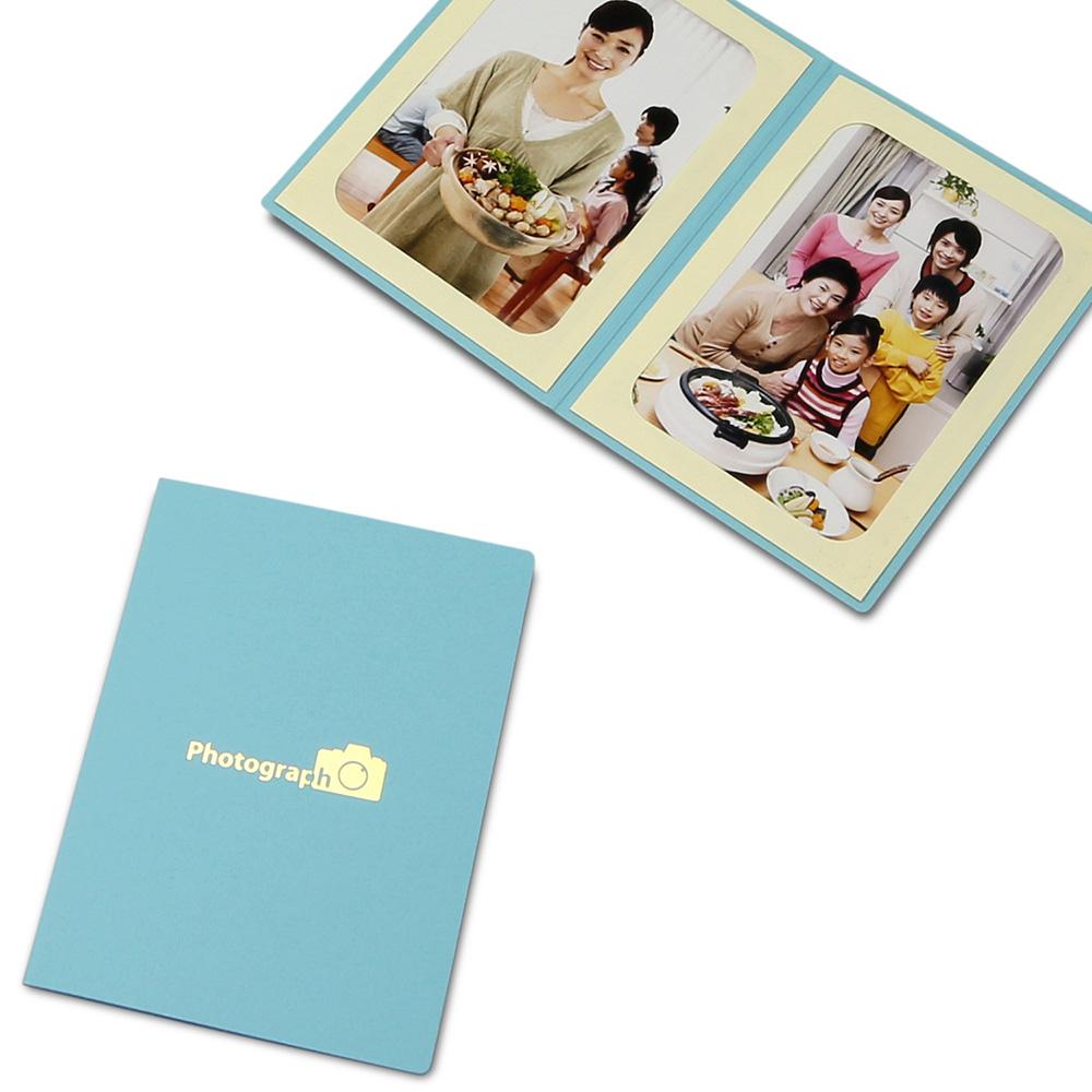ポケット台紙 Photograph/カメラ L2面(タテ) ブルー メッセージカード付
