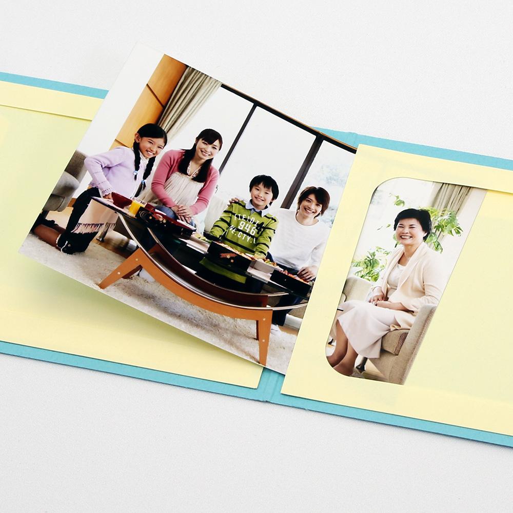 ポケット台紙 Photograph/カメラ L2面(ヨコ) ブルー メッセージカード付