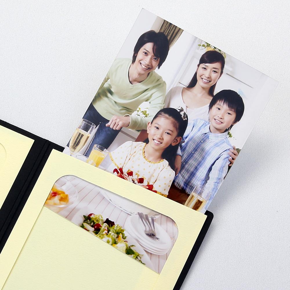 ポケット台紙 Thank you/ツタ L2面(タテ) ブラック メッセージカード付