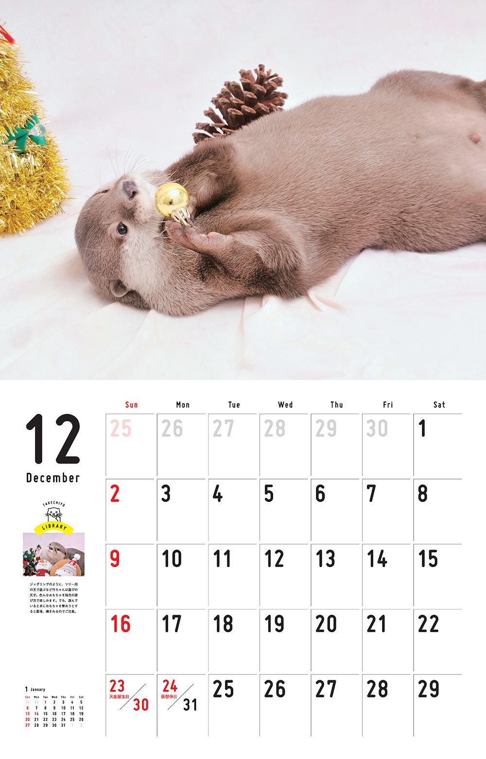 カレンダー2018 カワウソの竹千代です