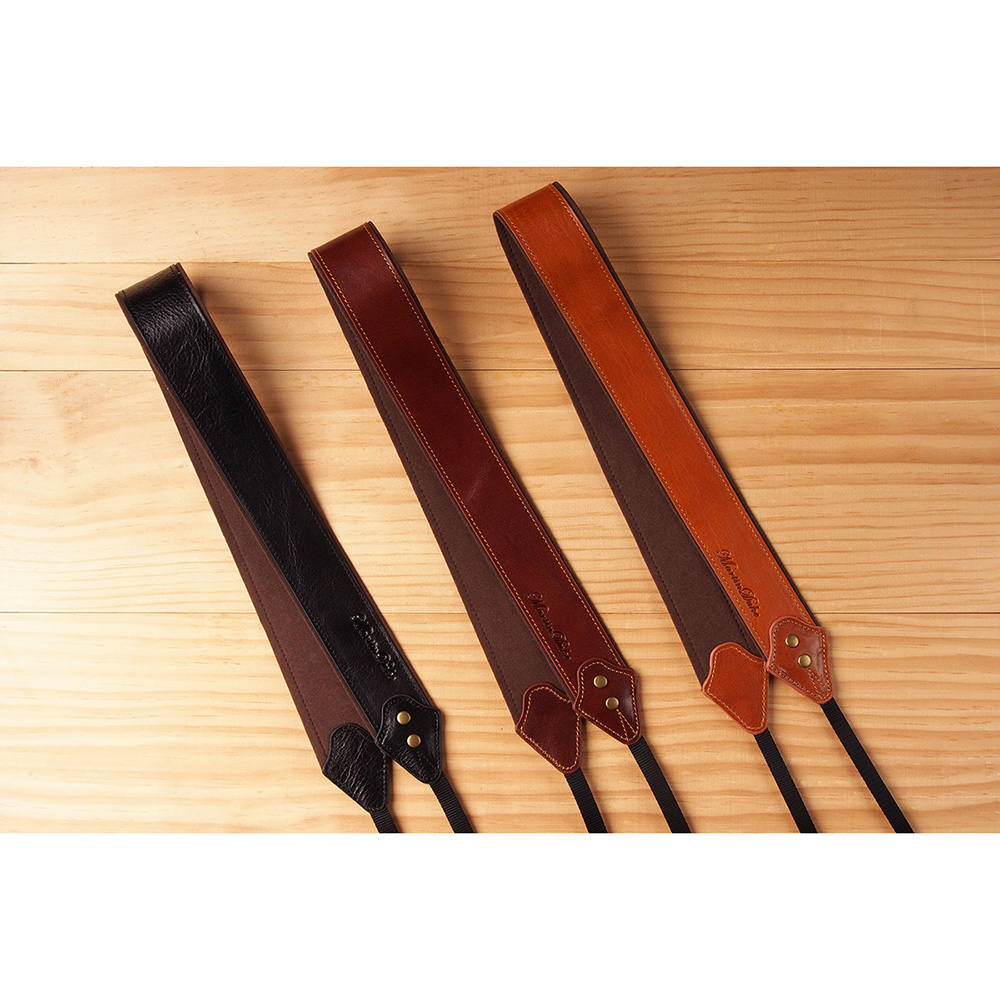 Martin Duke カメラネックストラップ SVEN Bon Bon Leather Neck Strap(W) Red Brown DN01RB