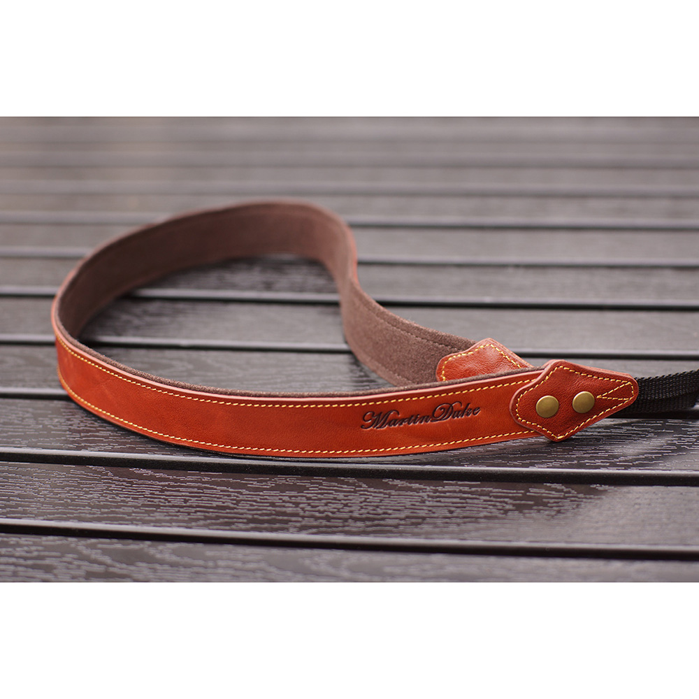 Martin Duke カメラネックストラップ SVEN Bon Bon Leather Neck Strap(N) Red Brown DN02RB