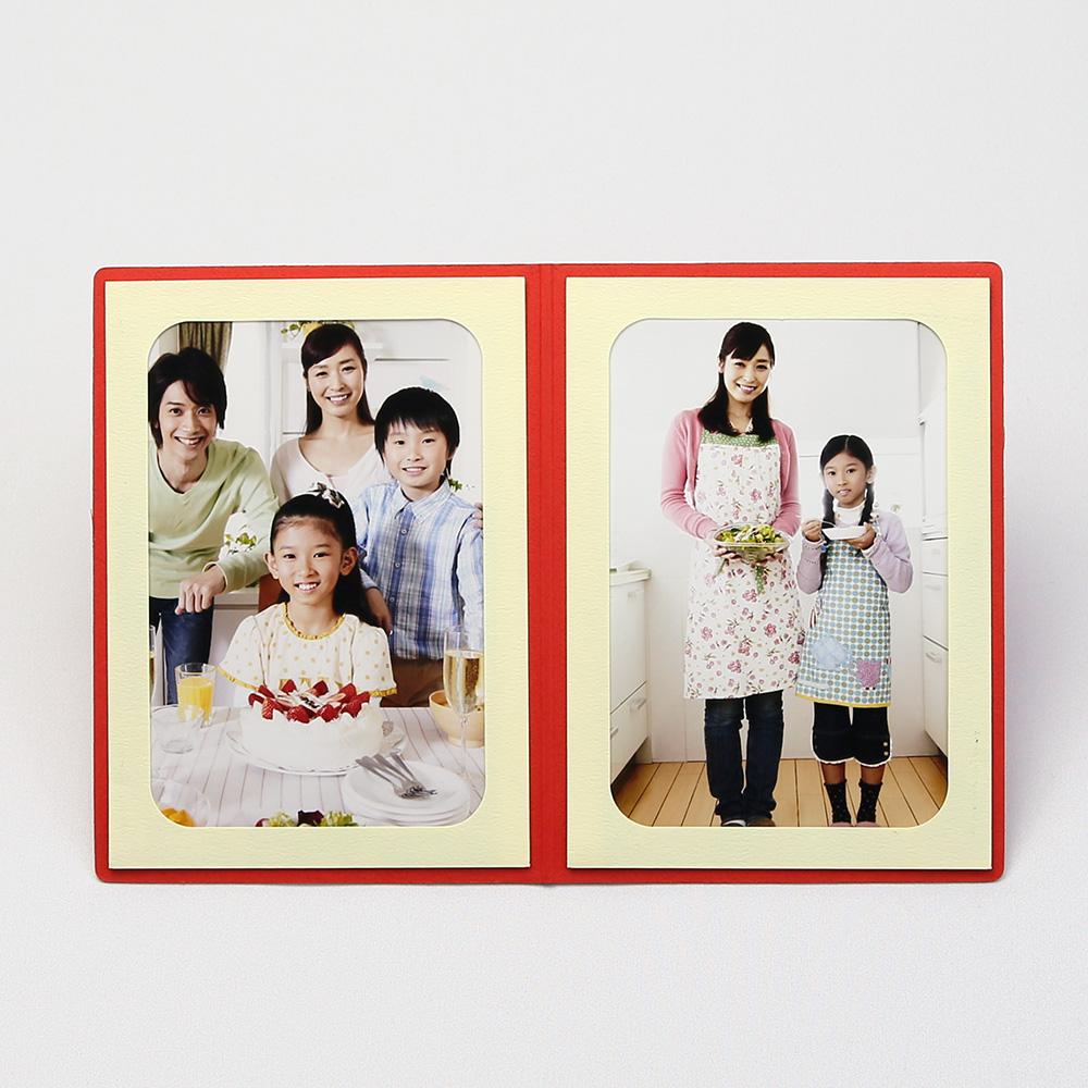 ポケット台紙 Thank you/ツタ L2面(タテ) レッド メッセージカード付