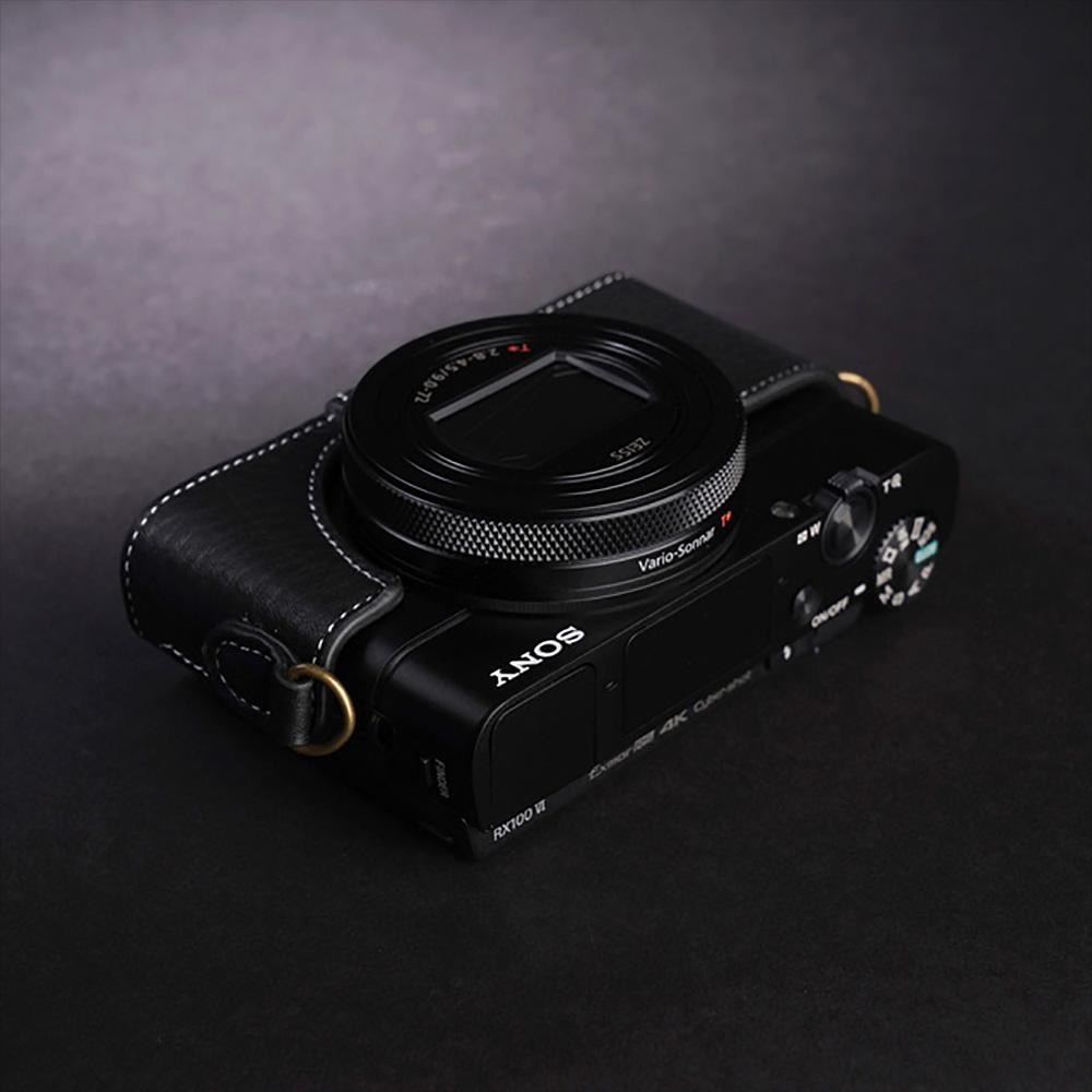 TP Original SONY RX100 VI (DSC-RX100M6) 用 ボディーハーフケース ブラック