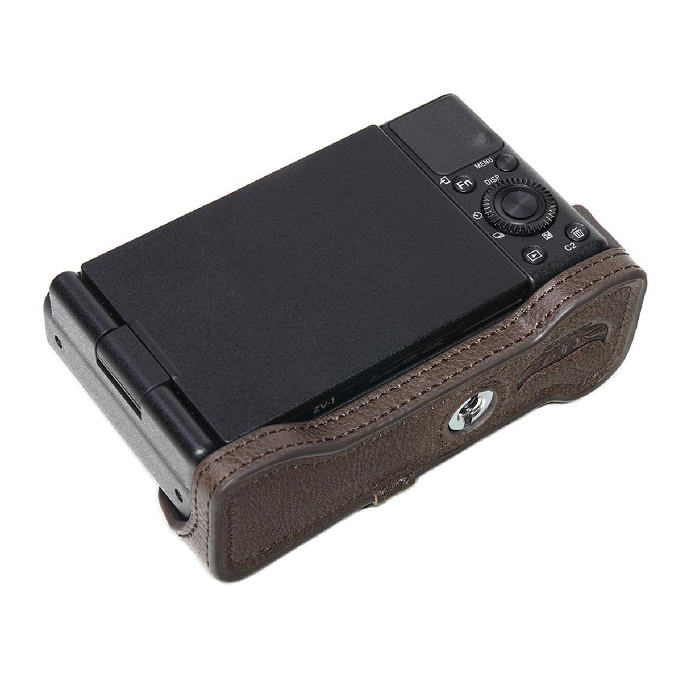 TP Original SONY VLOGCAM ZV-1 用 ボディーハーフケース ダークブラウン