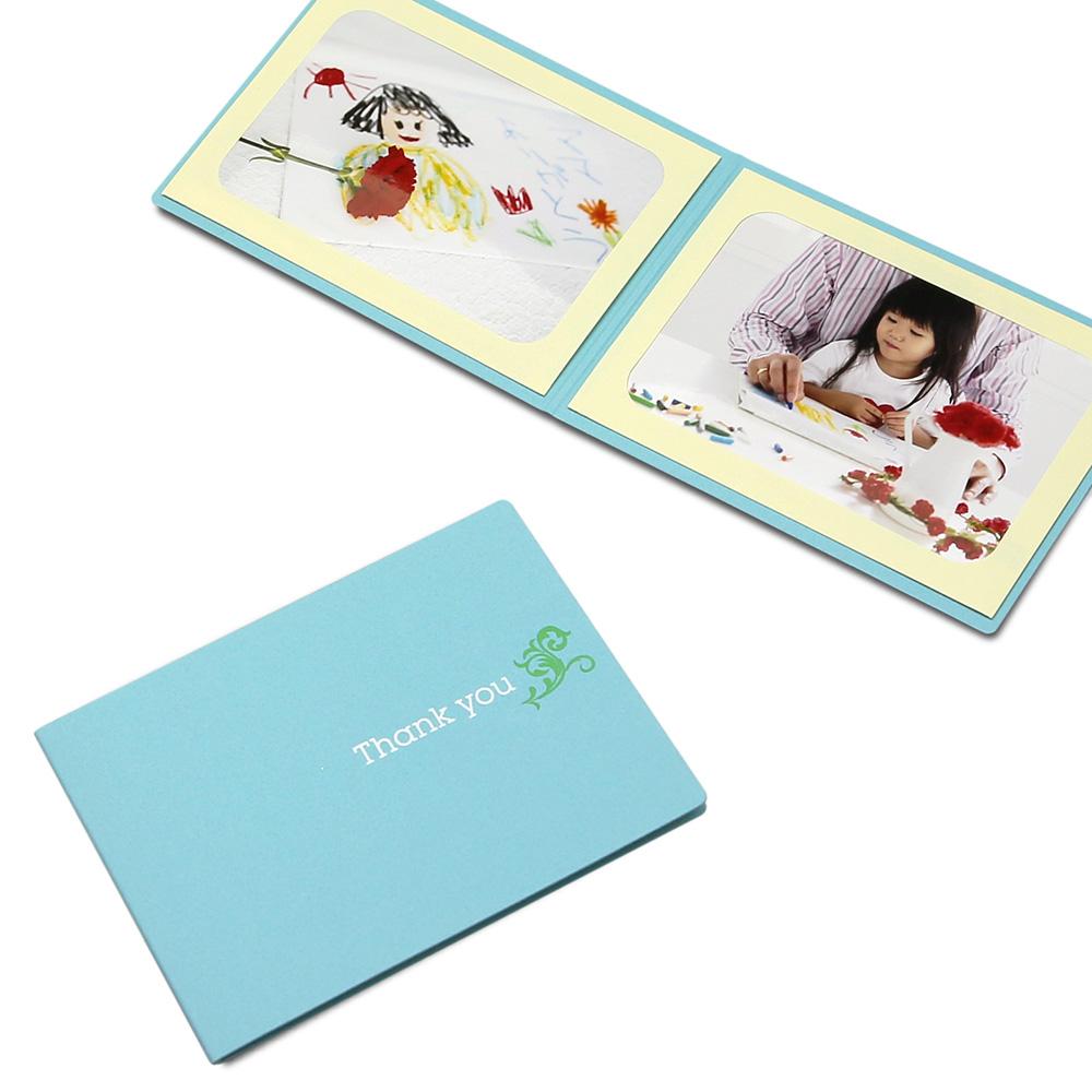 ポケット台紙 Thank you/ツタ L2面(ヨコ) ブルー メッセージカード付