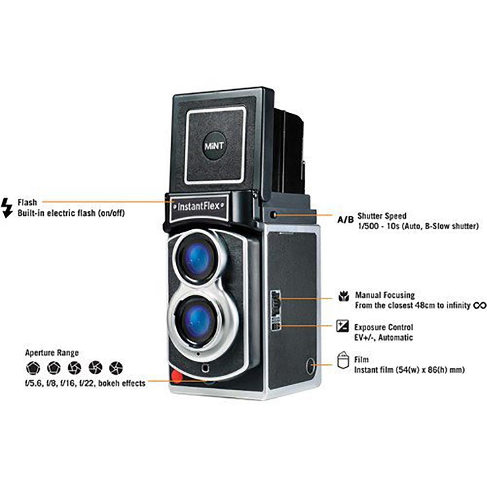 MiNT 二眼レフインスタントカメラ InstaxFlex TL70 2.0 チェキフィルム20枚セット