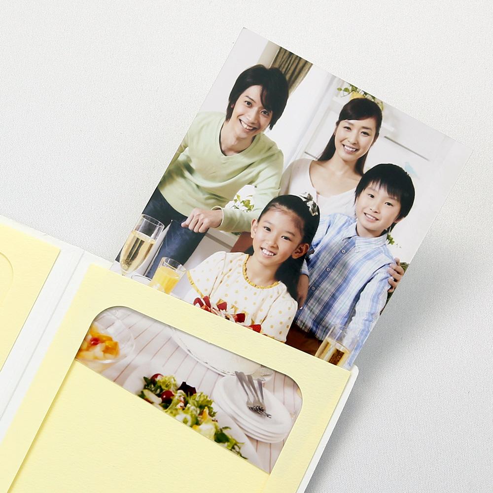 ポケット台紙 Anniversary/マーガレット L2面(タテ) ホワイト メッセージカード付