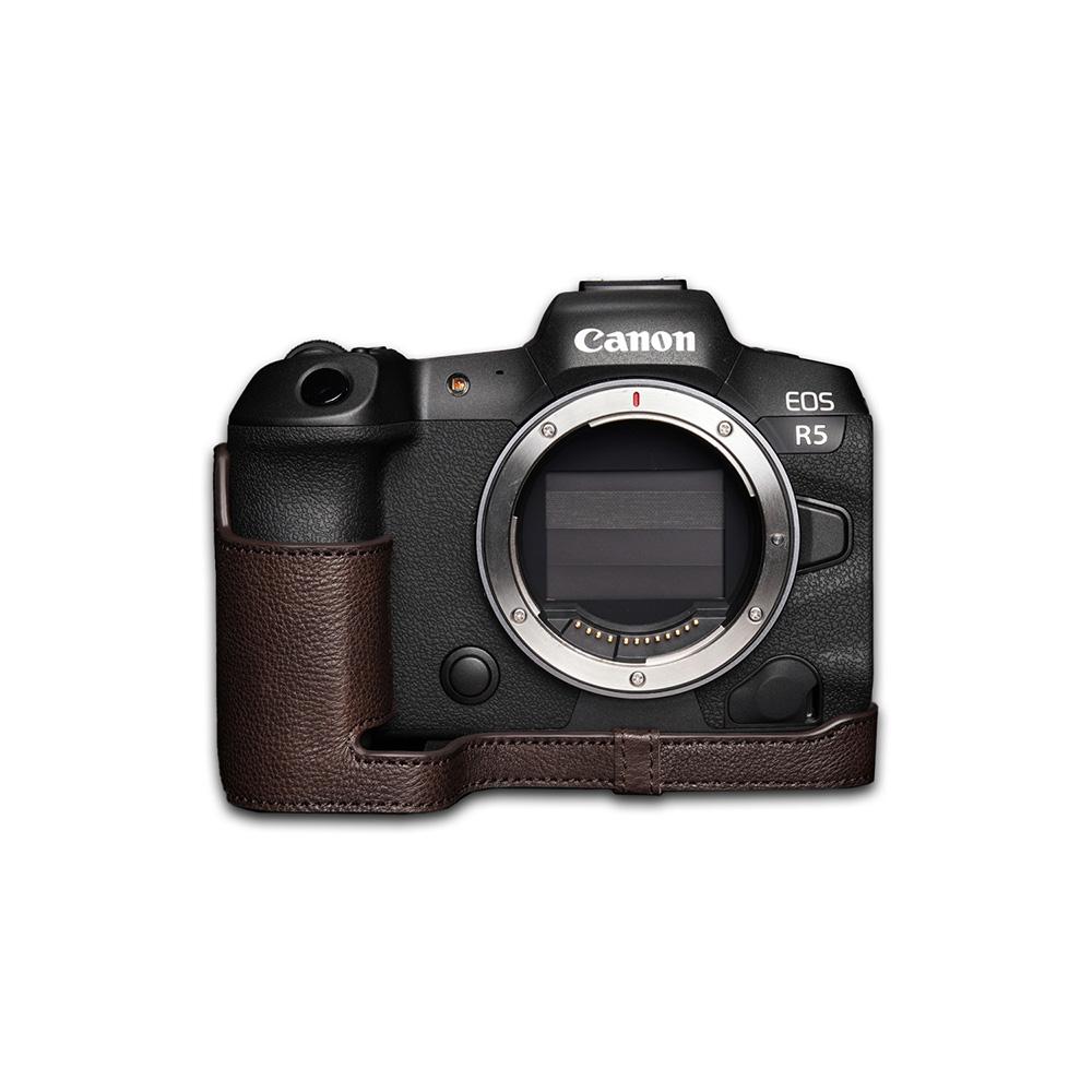 TP Original Canon EOS R5 用 ボディーハーフケース ダークブラウン