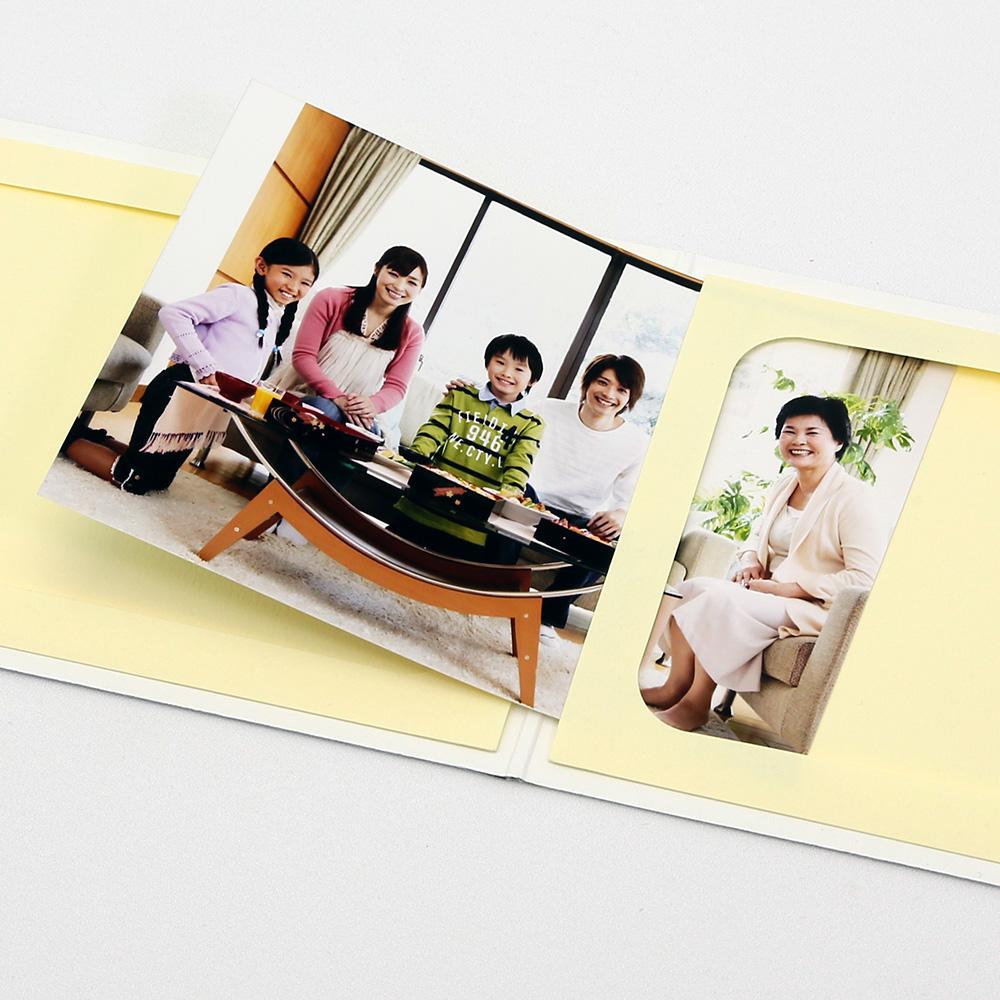 ポケット台紙 Anniversary/マーガレット L2面(ヨコ) ホワイト メッセージカード付