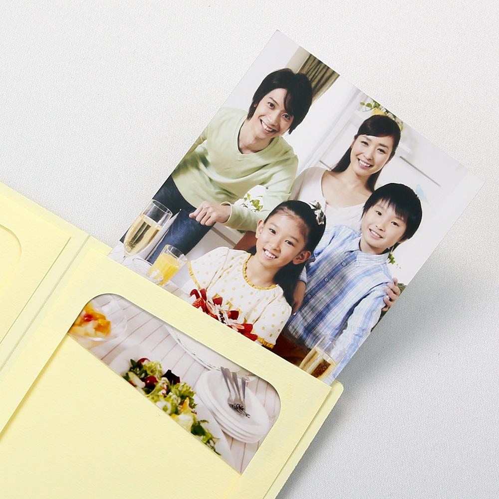 ポケット台紙 Anniversary/マーガレット L2面(タテ) クリーム メッセージカード付