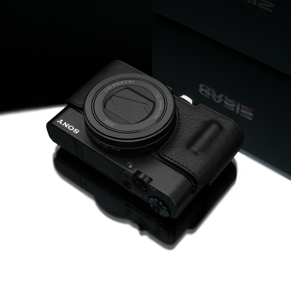 GARIZ SONY DSC-RX100 M5/M4/M3用 本革カメラケース HG-RX100BK ブラック(シボ加工)