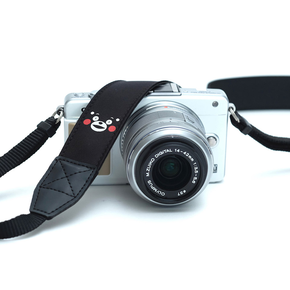 INDUSTRIA★ 熊本復興支援 くまモンカメラストラップ 「熊本で縫製しました」 Ver1(ミラーレス用) スマイル IND-900-SM