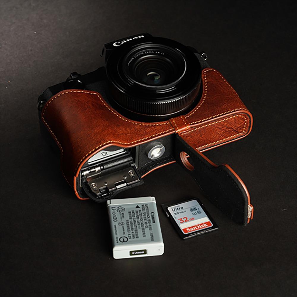 TP Original Canon PowerShot G1 X Mark III 用 ボディーハーフケース ブラウン