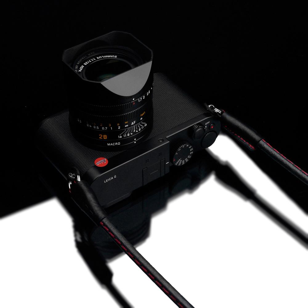GARIZ ミラーレス一眼カメラ用 イタリアンレザー カメラネックストラップ(80cm) XS-CSNSBKR ブラックレッドステッチ