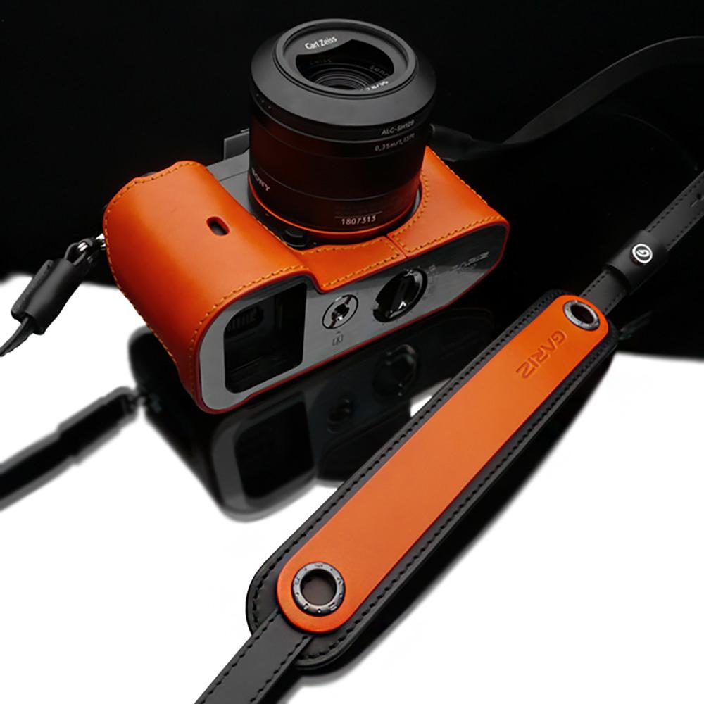 GARIZ 本革カメラネックストラップ XS-CHLSOR2 オレンジ