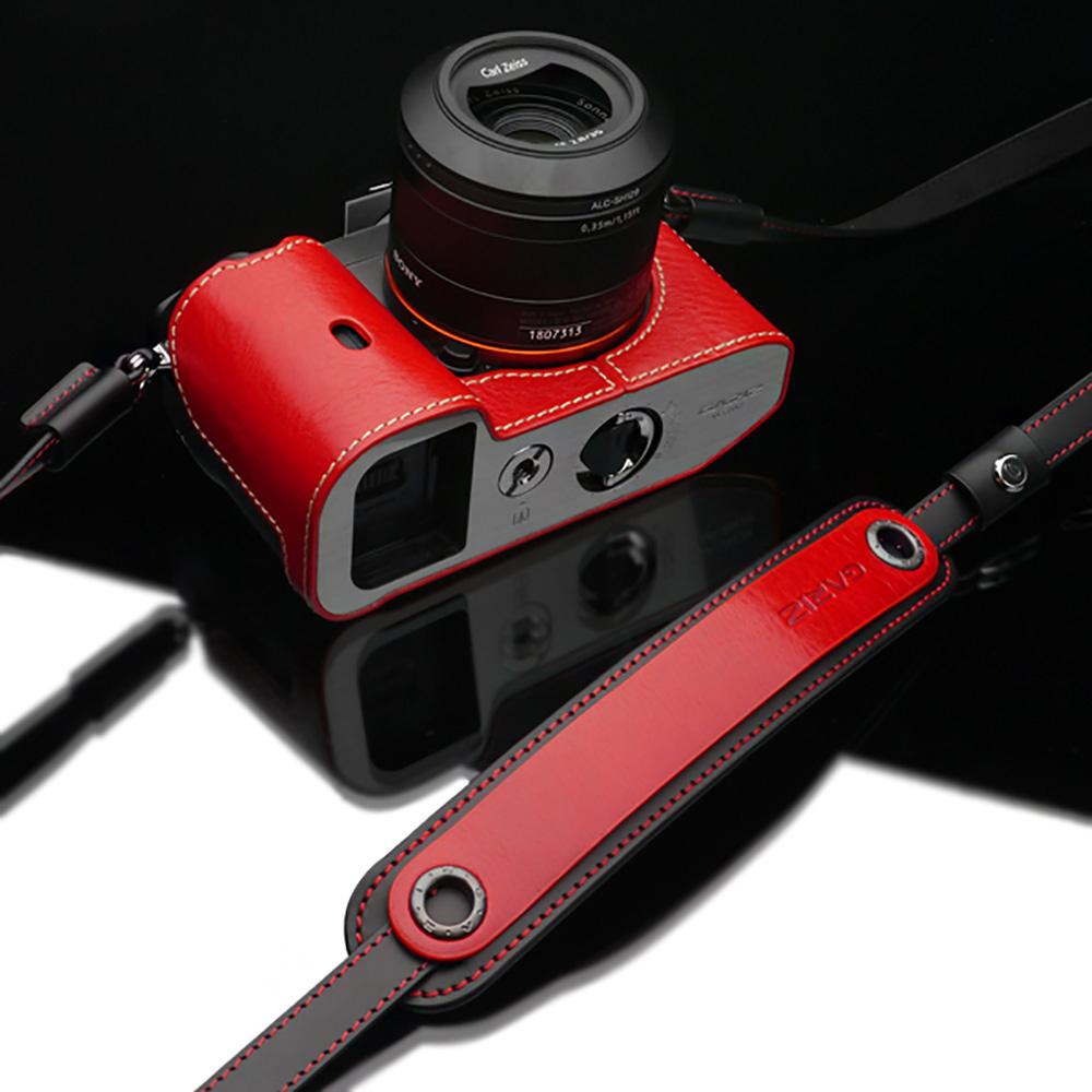 GARIZ 本革カメラネックストラップ XS-CHLSRB2 レッド