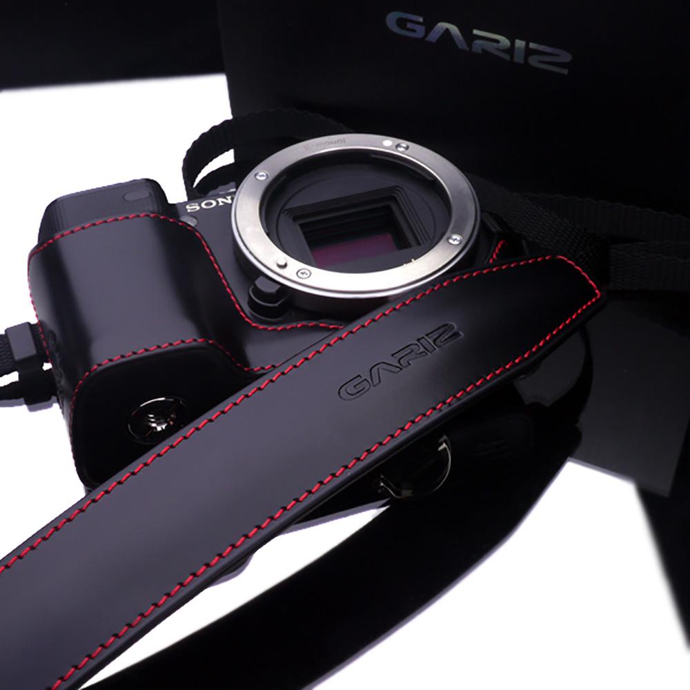 GARIZ 本革カメラネックストラップ XS-CHLSS2 ブラックレッドステッチ