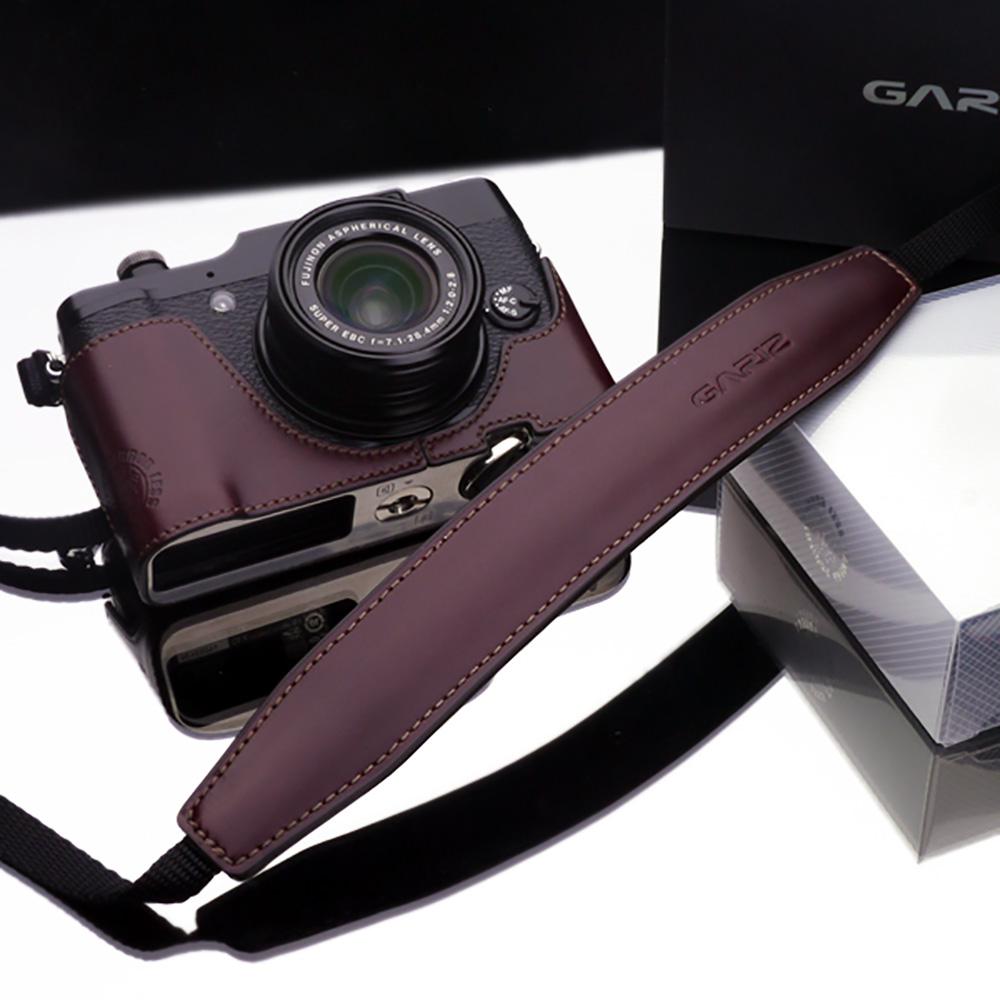 GARIZ 本革カメラネックストラップ XS-CHLSS3 ブラウン