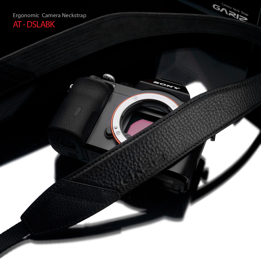 GARIZ Italian Leathere with Alcantara カメラネックストラップ AT-DSLABK ブラック